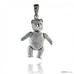 Sterling Silver Large Movable Teddy Bear Pendant