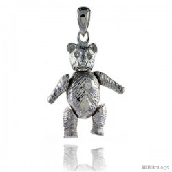 Sterling Silver Medium Movable Teddy Bear Pendant