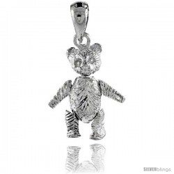 Sterling Silver Small Movable Teddy Bear Pendant
