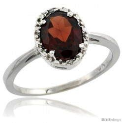 10k White Gold Diamond Halo Garnet Ring 1.2 ct Oval Stone 8x6 mm, 1/2 in wide