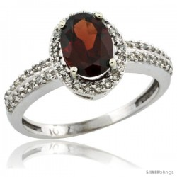 10k White Gold Diamond Halo Garnet Ring 1.2 ct Oval Stone 8x6 mm, 3/8 in wide