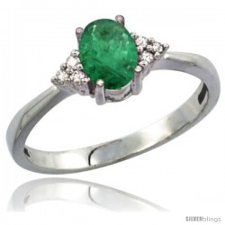 10K White Gold Natural Emerald Ring Oval 7x5 Stone Diamond Accent