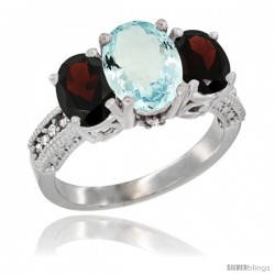 10K White Gold Ladies Natural Aquamarine Oval 3 Stone Ring with Garnet Sides Diamond Accent