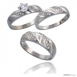 Sterling Silver 3-Piece Trio His (7 mm) & Hers (5 mm) CZ Wedding Ring Band Set