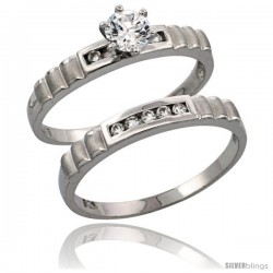 Sterling Silver 2-Piece CZ Engagement Ring Set, 5/32 in. (3.5 mm) wide