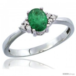 10K White Gold Natural Emerald Ring Oval 6x4 Stone Diamond Accent