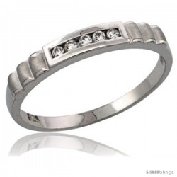 Sterling Silver Ladies' CZ Wedding Ring Band, 5/32 in. (3.5 mm) wide