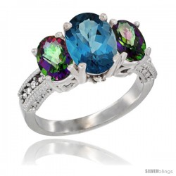 14K White Gold Ladies 3-Stone Oval Natural London Blue Topaz Ring with Mystic Topaz Sides Diamond Accent