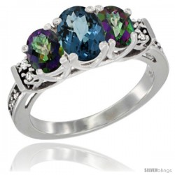14K White Gold Natural London Blue Topaz & Mystic Topaz Ring 3-Stone Oval with Diamond Accent