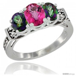 14K White Gold Natural Pink Topaz & Mystic Topaz Ring 3-Stone Oval with Diamond Accent