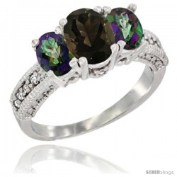 14k White Gold Ladies Oval Natural Smoky Topaz 3-Stone Ring with Mystic Topaz Sides Diamond Accent