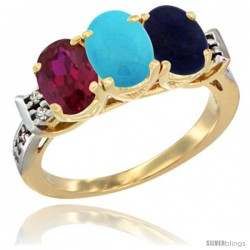 10K Yellow Gold Natural Ruby, Turquoise & Lapis Ring 3-Stone Oval 7x5 mm Diamond Accent