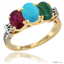 10K Yellow Gold Natural Ruby, Turquoise & Malachite Ring 3-Stone Oval 7x5 mm Diamond Accent
