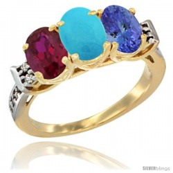 10K Yellow Gold Natural Ruby, Turquoise & Tanzanite Ring 3-Stone Oval 7x5 mm Diamond Accent