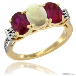 10K Yellow Gold Natural Opal & Ruby Sides Ring 3-Stone Oval 7x5 mm Diamond Accent