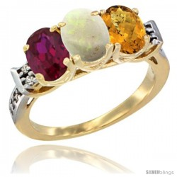 10K Yellow Gold Natural Ruby, Opal & Whisky Quartz Ring 3-Stone Oval 7x5 mm Diamond Accent