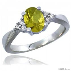 14k White Gold Ladies Natural Lemon Quartz Ring oval 7x5 Stone Diamond Accent -Style Cw427168