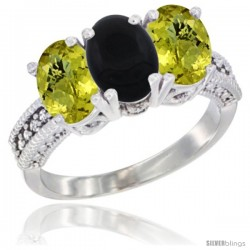 14K White Gold Natural Black Onyx Ring with Lemon Quartz 3-Stone 7x5 mm Oval Diamond Accent