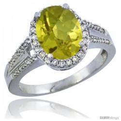 14k White Gold Ladies Natural Lemon Quartz Ring oval 10x8 Stone Diamond Accent