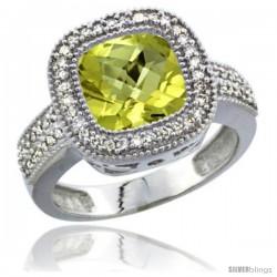 14k White Gold Ladies Natural Lemon Quartz Ring Diamond Accent, Cushion-cut 4 ct. 8x8 Stone Diamond Accent