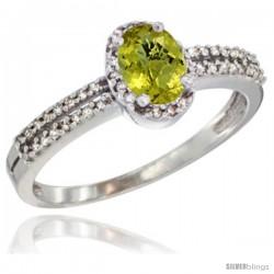 14k White Gold Ladies Natural Lemon Quartz Ring oval 6x4 Stone Diamond Accent -Style Cw427178
