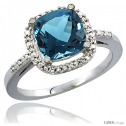 10K White Gold Natural London Blue Topaz Ring Cushion-cut 8x8 Stone Diamond Accent
