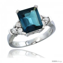 10K White Gold Natural London Blue Topaz Ring Emerald-shape 9x7 Stone Diamond Accent