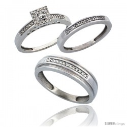 14k White Gold 3-Piece Trio His (6mm) & Hers (2.5mm) Diamond Wedding Band Set, w/ 0.33 Carat Brilliant Cut Diamonds