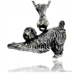 Sterling Silver Soft Coated Weather Terrier Dog Pendant