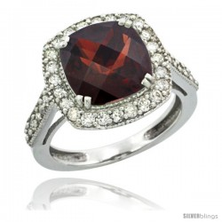 14k White Gold Diamond Halo Garnet Ring Checkerboard Cushion 9 mm 2.4 ct 1/2 in wide