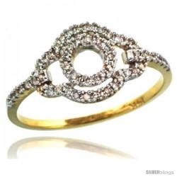 14k Gold Clover-shaped Diamond Ring w/ 0.16 Carat Brilliant Cut ( H-I Color VS2-SI1 Clarity ) Diamonds, 3/8 in. (10mm) wide
