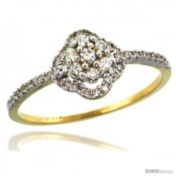 14k Gold Clover Diamond Ring w/ 0.23 Carat Brilliant Cut ( H-I Color VS2-SI1 Clarity ) Diamonds, 3/8 in. (9mm) wide