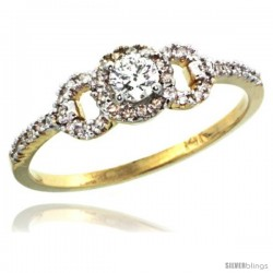 14k Gold Swirl Solitaire Diamond Engagement Ring w/ 0.33 Carat Brilliant Cut ( H-I Color VS2-SI1 Clarity ) Diamonds, 1/4 in