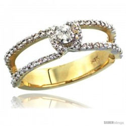 14k Gold Solitaire Diamond Engagement Ring w/ 0.38 Carat Brilliant Cut ( H-I Color VS2-SI1 Clarity ) Diamonds, 1/4 in. (6mm)
