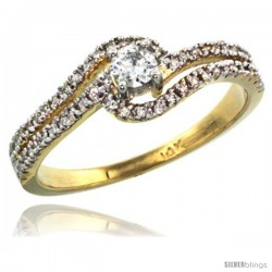 14k Gold Swirl Solitaire Diamond Engagement Ring w/ 0.34 Carat Brilliant Cut ( H-I Color VS2-SI1 Clarity ) Diamonds, 5/16 in