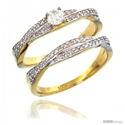 14k Gold 2-Pc Diamond Engagment Ring Set w/ 0.36 Carat Brilliant Cut ( H-I Color VS2-SI1 Clarity ) Diamonds, 1/4 in. (7mm) wide