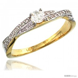 14k Gold Diamond Engagment Ring w/ 0.26 Carat Brilliant Cut ( H-I Color VS2-SI1 Clarity ) Diamonds, 1/8 in. (3.5mm) wide