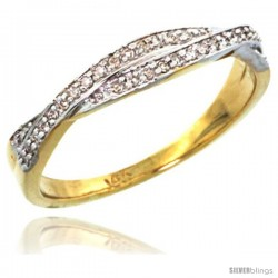 14k Gold 3mm Diamond Ring Band w/ 0.10 Carat Brilliant Cut ( H-I Color VS2-SI1 Clarity ) Diamonds, 1/8 in. (3.5mm) wide