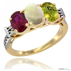 10K Yellow Gold Natural Ruby, Opal & Lemon Quartz Ring 3-Stone Oval 7x5 mm Diamond Accent