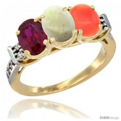 10K Yellow Gold Natural Ruby, Opal & Coral Ring 3-Stone Oval 7x5 mm Diamond Accent