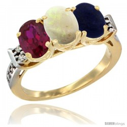 10K Yellow Gold Natural Ruby, Opal & Lapis Ring 3-Stone Oval 7x5 mm Diamond Accent