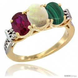10K Yellow Gold Natural Ruby, Opal & Malachite Ring 3-Stone Oval 7x5 mm Diamond Accent