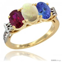 10K Yellow Gold Natural Ruby, Opal & Tanzanite Ring 3-Stone Oval 7x5 mm Diamond Accent