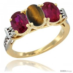 10K Yellow Gold Natural Tiger Eye & Ruby Sides Ring 3-Stone Oval 7x5 mm Diamond Accent