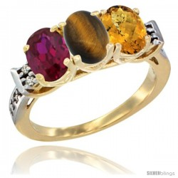 10K Yellow Gold Natural Ruby, Tiger Eye & Whisky Quartz Ring 3-Stone Oval 7x5 mm Diamond Accent