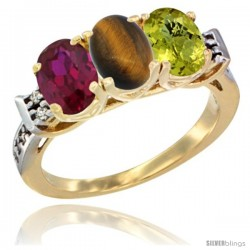 10K Yellow Gold Natural Ruby, Tiger Eye & Lemon Quartz Ring 3-Stone Oval 7x5 mm Diamond Accent
