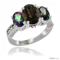 14K White Gold Ladies 3-Stone Oval Natural Smoky Topaz Ring with Mystic Topaz Sides Diamond Accent