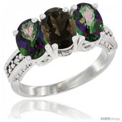 14K White Gold Natural Smoky Topaz & Mystic Topaz Ring 3-Stone 7x5 mm Oval Diamond Accent