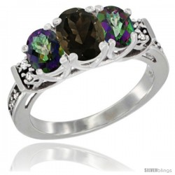 14K White Gold Natural Smoky Topaz & Mystic Topaz Ring 3-Stone Oval with Diamond Accent
