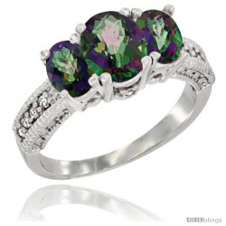 14k White Gold Ladies Oval Natural Mystic Topaz 3-Stone Ring Diamond Accent
